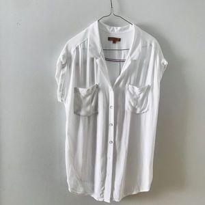 Jachs Girlfriend White Cap Sleeve Button up Top